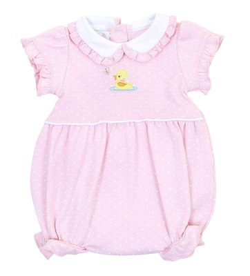 Magnolia Baby Girls Pink Vintage Ducky Bubble