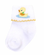 Magnolia Baby Yellow Vintage Ducky Embroidered Socks