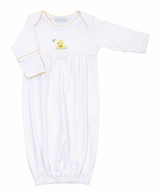 Magnolia Baby Vintage Ducky Gown - White with Yellow Dots