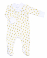 Magnolia Baby Yellow Vintage Ducky Printed Zipped Footie
