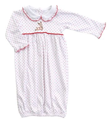 Magnolia Baby Girls Vintage Rudolph Embroidered Collared Gathered Gown
