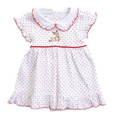 Magnolia Baby Girls Vintage Rudolph Embroidered Collared Dress Set