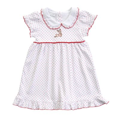 Magnolia Baby Little Girls Vintage Rudolph Embroidered Collared Dress