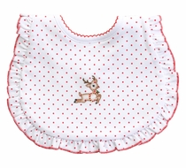Magnolia Baby Vintage Rudolph Embroidered Ruffle Bib - Girls