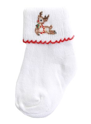 Magnolia Baby Girls / Boys Vintage Rudolph Embroidered Socks