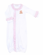 Magnolia Baby Girls Vintage Teddy Bear Ruffle Converter Gown - Pink