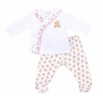 Magnolia Baby Girls Vintage Teddy Bears Print Ruffle Footed Pant Set - Pink