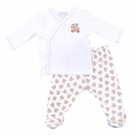 Magnolia Baby Boys Vintage Teddy Bears Print Footed Pant Set - Blue