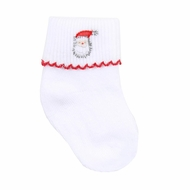 Magnolia Baby Vintage Up on the Housetop Embroidered Santa Socks
