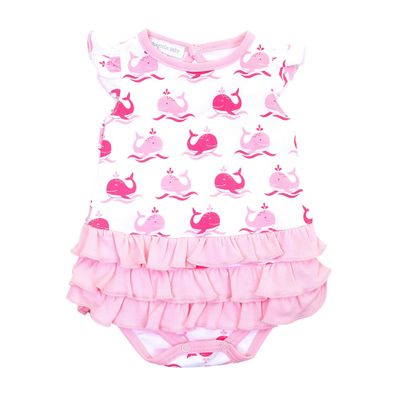 Magnolia Baby Girls Whales Flutters Ruffle Bubble - Pink