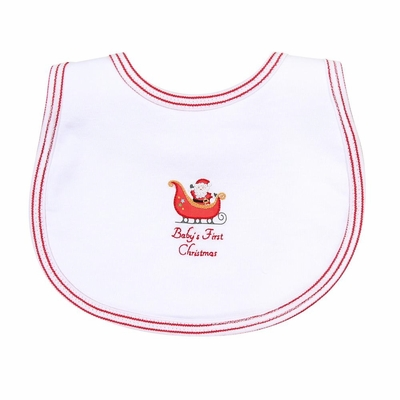 Magnolia Baby White First Christmas Embroidered Bib
