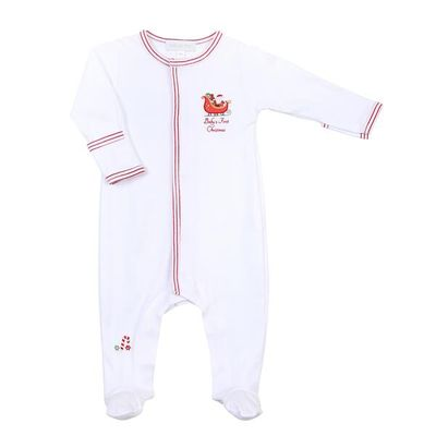Magnolia Baby White First Christmas Embroidered Footie