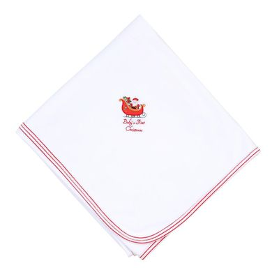 Magnolia Baby White First Christmas Embroidered Receiving Blanket