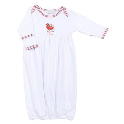 Magnolia Baby White First Christmas Embroidered Gathered Gown