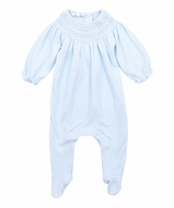 Magnolia Baby Zach and Zoe's Classics Girls Smocked Bishop Footie - Blue