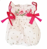 Marco & Lizzy Baby Girls Hot Pink Floral Bubble with Side Bows