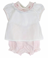 Marco & Lizzy Baby Girls White / Pink Dotted Swiss Bloomers Set - Smocked Collar