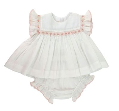 Marco & Lizzy Baby Girls White Smocked Bloomers Set