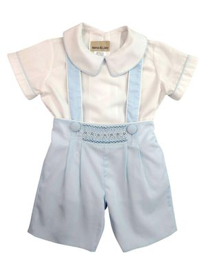 Marco & Lizzy Baby / Toddler Boys Blue Smocked Suspender Shorts Set with Shirt
