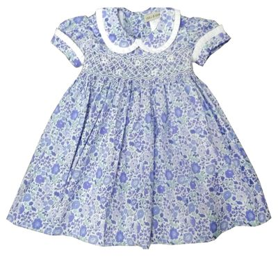 Marco & Lizzy Girls Blue Liberty of London Floral Print Smocked Dress