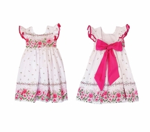 Marco & Lizzy Girls Hot Pink Floral Dress with Sash