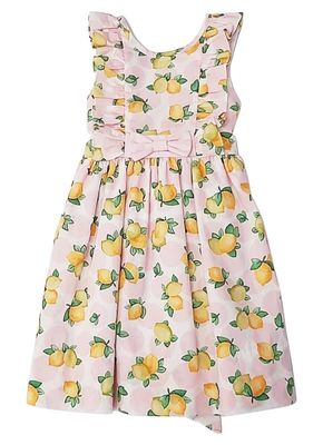 Marco & Lizzy Girls Pink Pinafore Positano Lemons Dress with Bow