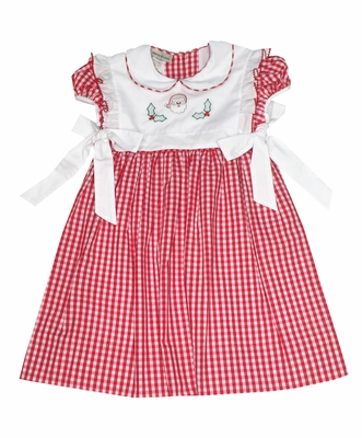 Marco & Lizzy Girls Red Gingham Embroidered Santa Pinafore Dress - White Bows at Sides