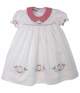 Marco & Lizzy Girls White Embroidered Christmas Bows Dress