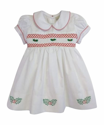 Marco & Lizzy Girls White Smocked Christmas Holly Dress - Red Check Sash in Back