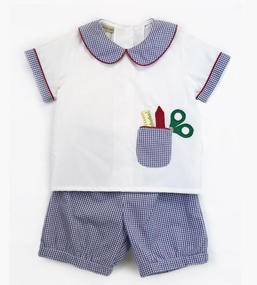 Marco & Lizzy Toddler Boys Blue Check Back to School Shorts Set