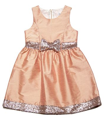 Maria Casero by Luli & Me Girls Blush Peachy Pink Dress with Gold Sequin Bow