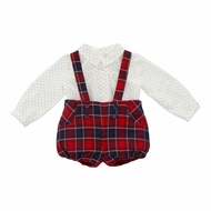 Martin Aranda Baby Boys Red Holiday Plaid Bubble Overall with Shirt