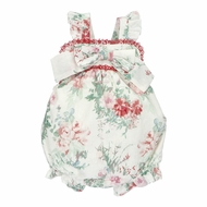 Martin Aranda Baby Girls Rose Floral Print Bubble - Bow on Front