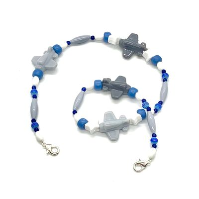 Mask Buddy / Face Cover Necklace - Never Lose Your Mask! - Blue & Gray Airplanes
