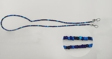 Mask Buddy / Face Cover Necklace - Never Lose Your Mask! - Blue Beaded Necklace