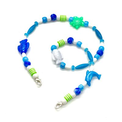 Mask Buddy / Face Cover Necklace - Never Lose Your Mask! - Blue Fish