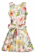 Max & Dora Girls Pink & Yellow Cabbage Roses Print Floral Sleeveless Dress