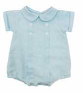 Me Me Baby Boys Linen Blend Pleated Bubble with Collar - Aqua