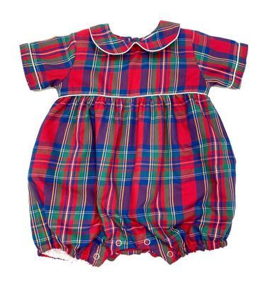 Me Me Baby Boys Red Holiday Plaid Neil Bubble