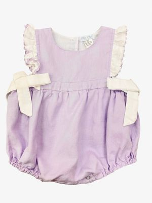 Me Me Baby Girls Linen Blend Ruffle Bubble with Bows - Lavender