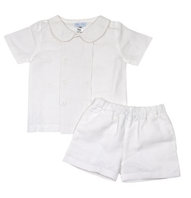 Me Me Boys Dressy Linen Blend Shorts Set - White