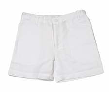 Me Me Boys Linen Blend Shorts - White