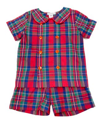 Me Me Boys Red Holiday Plaid George Double Breasted Short Set