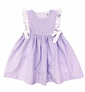 Me Me Girls Linen Blend Ruffle Dress with Bows - Lavender