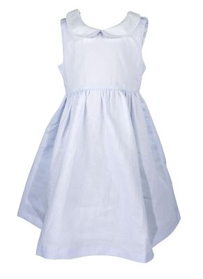 Me Me Girls Linen Blend Sleeveless Dress with Collar and Sash - Blue
