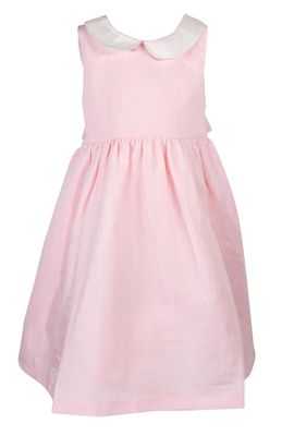 Me Me Girls Linen Blend Sleeveless Dress with Collar and Sash - Pink