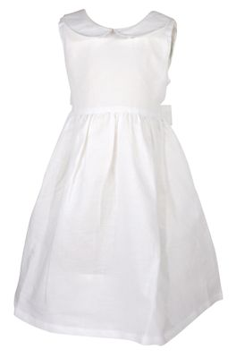Me Me Girls Linen Blend Sleeveless Dress with Collar and Sash - White