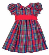 Me Me Girls Red Holiday Plaid Natalie Dress with Red Sash