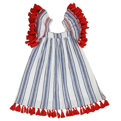 Mer St. Barth Girls Serena Dress - Navy Blue Stripes - Red Tassels