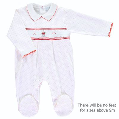 Mini la Mode Baby White Footie - Smocked Snoopy Dog with Hearts